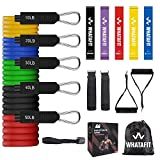 Whatafit Resistance Bands Set (16pcs), Exercise Bands with Door Anchor, Handles,Waterproof Carry Bag, Legs Ankle Straps...
