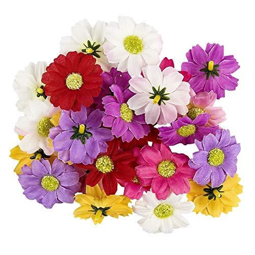 Ideen mit Herz Deko-Blüten, Kunstblumen, Blüten-Köpfe, Verschiedene Sorten, ca. Ø 4-5 cm (Margerite - bunt - 27 Stück)