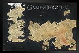 Pyramid America Game of Thrones Westeros Essos Map Black Wood Framed Poster 20x14