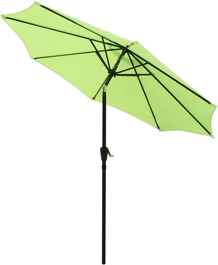 Yeshom 9ft UV 30+ Aluminum Outdoor Patio Umbrella with Crank & Tilt 8 Ribs Air-Vented for Garden Table Deck Yard Pool
