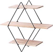 Rhombus smeedijzeren houten boekenplank aan de muur, retro massief houten paneel muurbevestiging, creatieve wandverdeling...