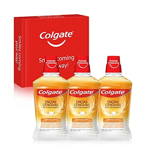 Colgate Encías Revitalizante Fortificante, Enjuague Bucal Con Extracto De Gingseng, Antibacteriano, Pack Uds X 500ml, 3 Unidad