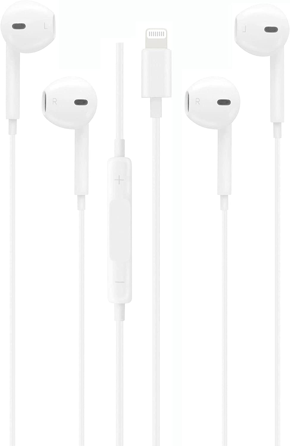 2 Pack Apple Earbuds [Apple MFi Certified] with Lightning Wired in Ear Headphone Plug(Built-in Microphone & Volume Control) Compatible with iPhone 12/SE/11/XR/XS/X/7/7 Plus/8/8Plus -White