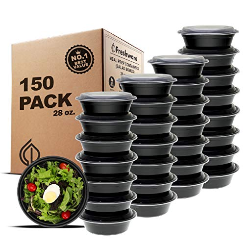 Freshware Meal Prep Bowl Containers, Bento Box, Plastic Containers, Food Storage Containers, Lunch Boxes, Portion Control, 21 Day Fix (Salad Bowls, 150-Pack)