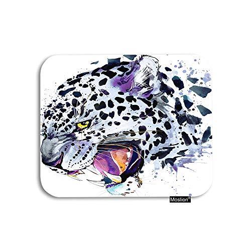 Moslion Leopard Mouse Pad Wild Animal Safari Snow Leopard with Splash Black Doodle Polka Dot Gaming Mouse Pad Rubber Large Mousepad for Computer Desk Laptop Office Work 7.9x9.5 Inch