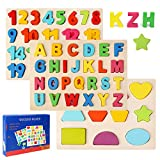 Ballery Puzzles de Madera, Juguetes Bebes, Colorido Alfabeto ABC Cartas Números Formas Madera Puzzles Rompecabezas niños Juguetes Montessori Aprendizaje Temprano Juguetes Educativos - 3 Piezas