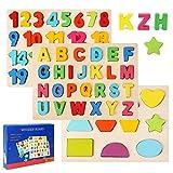 Ballery Puzzles de Madera, Juguetes Bebes, Colorido Alfabeto ABC Cartas Números Formas Madera...