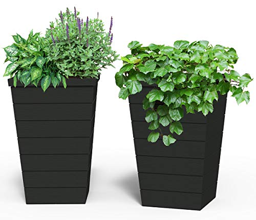 Keter Set of 2 Resin Modern Outdoor, Tall and Large Flower Drainage and Tapered Wood Look-Perfect for Garden Pots, Balcony Planters, and Front Porch Decor, 15 in. W x 15 in. D x 22.5 in. H, Anthracite