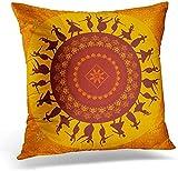 Mesllings, morbida federa decorativa quadrata per cuscino, motivo ballerino indiano classico danzatore indiano, decorazione per la casa, 45,7 x 45,7 cm