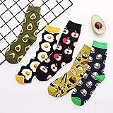 KANGDE 5 Piezas Harajuku Calcetines Divertidos para Mujer Streetwear Aguacate Huevo Manzana Hamburguesa Estampado otoño Calcetines