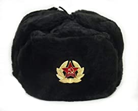SIBERHAT Russian Soviet Army Black KGB Fur Military Cossack Ushanka Hat Size M