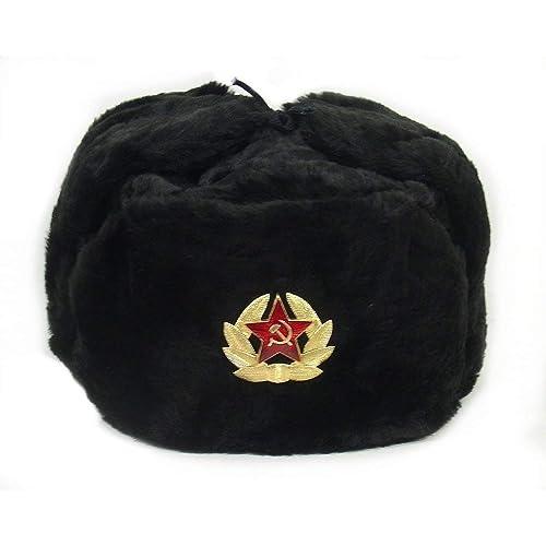 Hat Russian Soviet Army Black KGB Fur Military Cossack Ushanka Size M  (metric 58) e54f0f3f2ec