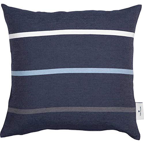 TOM TAILOR Deko Kissen Tape • Kissenbezug 38x38 blau • Deko Wohnzimmer • ohne Füllung • waschbare Zierkissenhülle