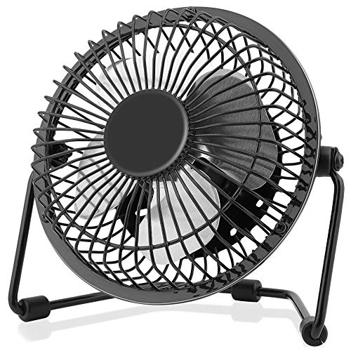 4 Inch Small USB Desk Fan, Mini Quiet Fan with Metal Construction & Strong Airflow & 360°Adjustable Tilt Angle, Personal Cooling Fan for Desktop Office (Black)