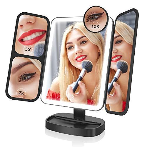EASEHOLD Kosmetikspiegel mit Beleuchtung und 10 Fach Vergrößerung 180° Drehbar Make up Spiegel, Schminkspiegel Faltbar mit dimmbare Licht für Badezimmer und Unterwegs