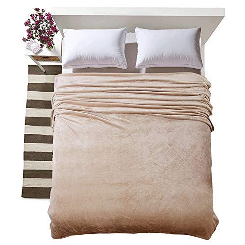 QFWM Manta con mini pompones de franela gruesa, manta doble, manta más gruesa, manta de coral cómoda (tamaño: 180 x 200 cm, color: marrón)