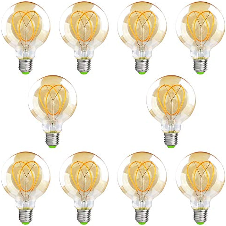 DASKOO 10-er Pack E27 2W = 15W G95 Vintage LED Glühbirne 100LM Glas Warmwei 2200K