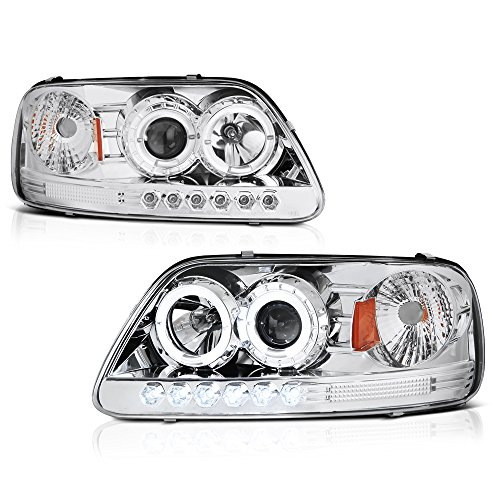 [For 1997-2003 Ford F-150 Pickup Truck] LED Halo Ring Chrome Housing Projector Headlight Headlamp Assembly, Driver & Passenger Side