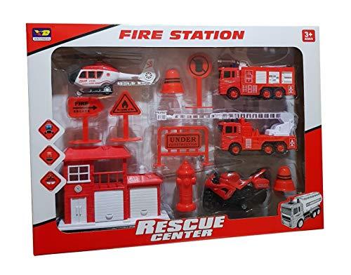 ambestore XL Feuerwehr Spielzeug Set Feuerwehrauto Löschfahrzeug Einsatzwagen Auto LKW Feuerwehrwache Hubschrauber Motorrad für Spielteppich ab 3+