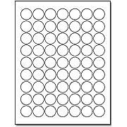 "White 1"" Round Circle Labels - 63 Labels Per Sheet - for Inkjet & Laser Printers - 25 Sheets / 1575 Labels"