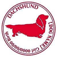 ダックスフンド ロング ステッカー Cパターン グッズ 名前 シール デカール 犬 いぬ イヌ シルエット (アップルグリーン)