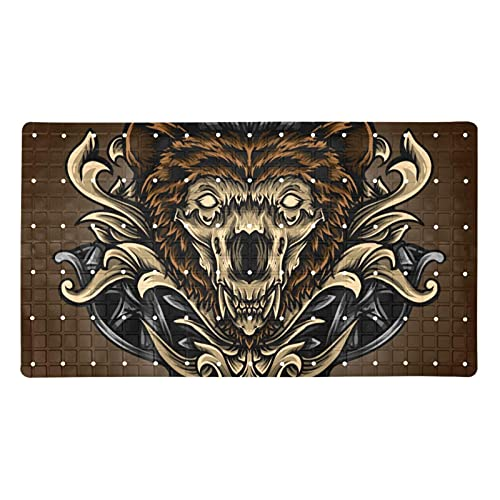 Bath Mat Non-Slip Wolf Pattern Suction Cups Best Durable and Stylish in Bath Mats Anti-Slip Shower Mat with Modern Design Quality Suction Cups 15.7x27.9 in