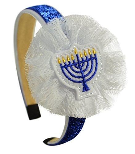 Hanukkah Jewish Menorah Girls Arch Headband with Tulle Flower