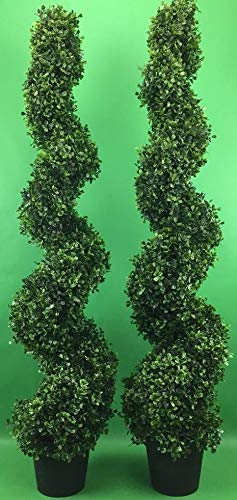 Arcadia Silk Plantation 2 Pre-potted 4 Feet 2 Inches Spiral Boxwood Artificial Topiary Trees in Plastic Pot