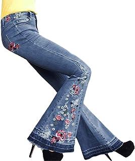 Blu Chiaro, XXL Yezelend Donna Jeans a Zampa Pantaloni a Vita Alta Elasticizzati Donna Jeans a Zampa di Elefante Svasati Classici Vita Alta Push-Up Blu Pantaloni Denim Larghi