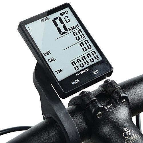 Inbike Fahrrad Regen-Wireless-Cadence Multifunktions-Fahrrad, Kilometerzähler Fahrrad-Tachometer, Stoppuhr Hintergrundbeleuchtung 2,8cm, Wired with Extension Mount