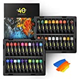 Magicfly Professional Oil Paint Set, 40 Tubes (18ml/0.6oz) including Classic, Metallic Gold, Silver & 3 White Colors, Rich Vibrant, Non-Toxic Oil Paints for Canvas Painting, Oil Paint Supplies for Artist, Kids and Beginners