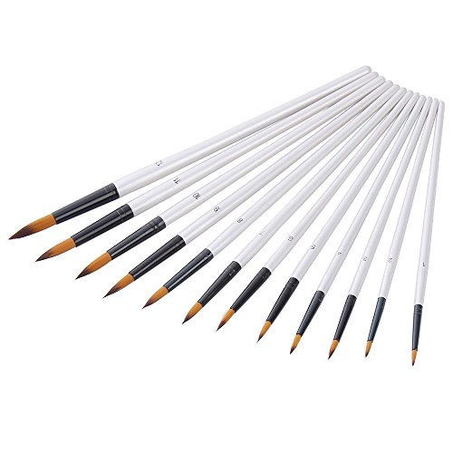 12 Stück Künstlerpinsel feine Pinsel für Acryl Aquarell Ölmalerei, Weiß