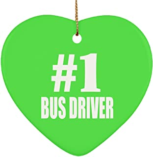 Number One #1 Bus Driver - Heart Ornament Christmas Tree Decor-ation - Gift for Friend Colleague Retirement Graduation Kelly Birthday Anniversary Christmas Thanksgiving