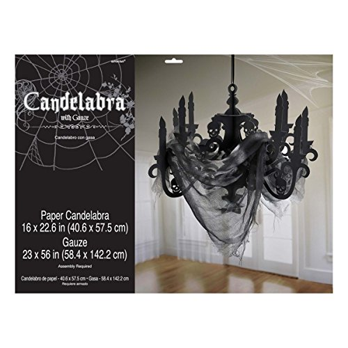 Amscan International–670455candelabro de papel negro casa encantada