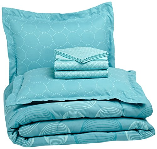 AmazonBasics 7-Piece Light-Weight Microfiber Bed-In-A-Bag Comforter Bedding Set - Full or Queen, Industrial Teal
