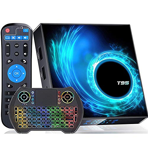 DOOK Android 10.0 TV Box, Android Box with Allwinner H616 Quad-Core 64bit Arm Corter-A53 CPU Mali G31 MP2 GPU 6K 4K 2.4GHz+5GHz WiFi BT5.0 with Wireless Backlit Mini Keyboard2+16G