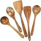 Nipogear teak wooden non-stick cookware wooden spatula long handle wooden spatula high temperature spatula Acacia cooking set wooden spatula kitchen gadgets suit.