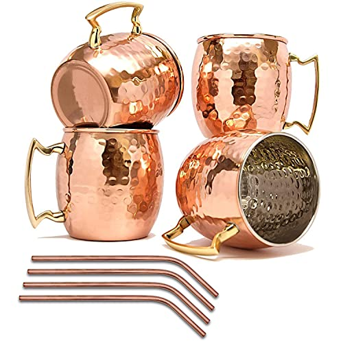 16 oz Moscow Mule Mugs Set of 4 HandcraftedCopper Mugs Food-safe Stainless Steel Lining Cups large-capacity Hammered Mugs with 4 Cocktail Straws for Iced Drinks, Beer Cocktail for Home and Bar