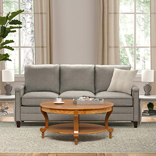 Amazon Brand – Ravenna Home Traditional Solid Pine Coffee Table, 19''H, Oak Finish