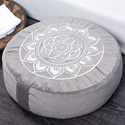 Florensi Meditation Cushion (16x16x5), Large Velvet Meditation Pillow, Premium Yoga Pillow for Women and Men, Yoga Cushion, Meditation Pillows for Sitting on Floor, Buckwheat Meditation Cushions