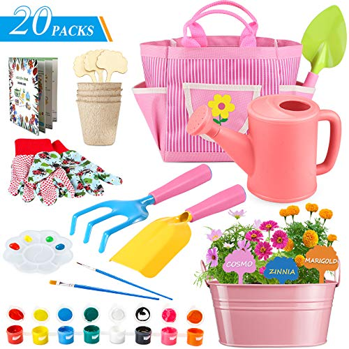 GINMIC Kids Gardening Tools with STEM Learning Guide, Washable Apron, Watering Can, Gardening Gloves, Shovel, Rake, & Painting Accessories Beach Sand Toy, Kids Garden Tool Set for Toddler Age on up.