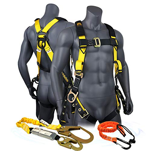 KwikSafety (Charlotte, NC) SUPERCELL COMBO | 3D Ring Full Body Safety Harness, 6' Lanyard, Tool Lanyard, ANSI OSHA PPE Fall Protection Arrest Restraint Equipment Universal Construction Roofing Bucket