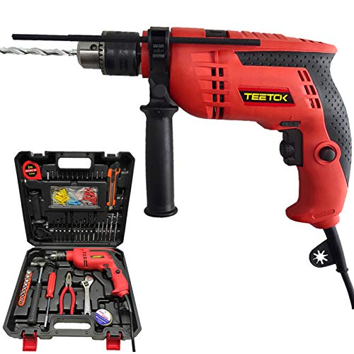 Rotary Hammer Drill, Impact Drill Electric Corded, 104 Pcs Accessories Set with Case, Variable Speed, 360°Rotating Handle, Hammer and Drill 2 Functions. Suitable for Wood, Metal or Plastic.