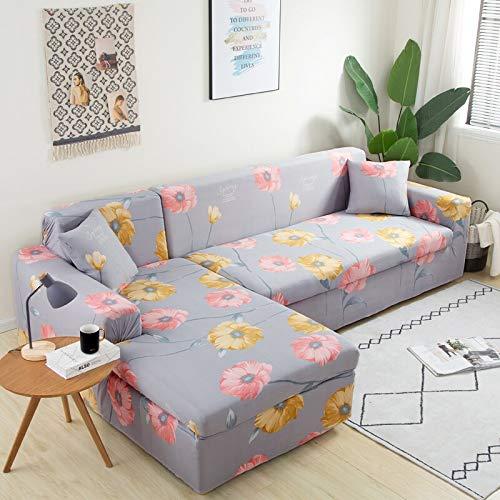 ASCV Fundas de sofá Florales para Sala de Estar Fundas elásticas elásticas Sofá seccional Sofá esquinero A8 3 plazas