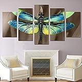 5 Piece Canvas Cuadro Moderno Impresión En Lienzo Color Insecto Libélula Pintura Arte Pared Habitación Decoración Del Hogar Cartel Sin Marco