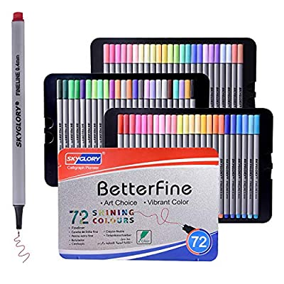 72 Fineliner Color Pen, 0.4 mm Colored Fine Tip...