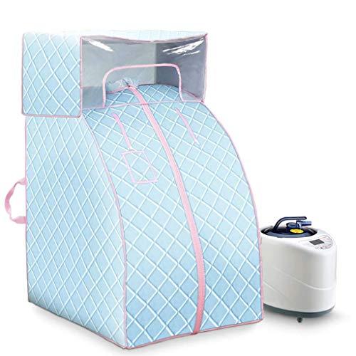 HZX Infrarot-Saunaofen für Saunaofen - 80 × 70 × 120 cm Tragbare Dampfsauna 1000W, 1-9 Temperaturregelung mit Elektronischer Steuerung, mit Drahtloser Fernbedienung, Blau, b