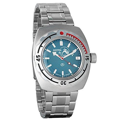 Vostok Buceador de Anfibios Dude Azul Rusia Reloj WR 200M 1967diseño Anfibios Diver #...