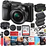 Sony Alpha a6000 Mirrorless Digital Camera with 16-50mm Lens Bundle with 128GB Memory Card, 2X Battery, Photo and Video Professional Editing Suite, Camera Bag and 40.5mm Lens Filter Kit