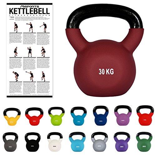 Kettlebell Profesional Neopreno 2 - 30 kg con póster de ejercicios, P